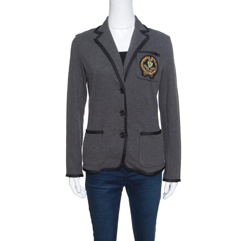 Купить со скидкой Ralph Lauren Grey Knit Contrast Trim Logo Applique Detail Blazer S