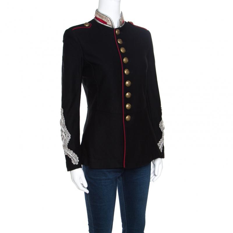 Wählen Sie für offizielle zur Freigabe auswählen authentische Qualität Ralph Lauren Black Cotton Twill Metallic Cord Embellished Military Jacket S