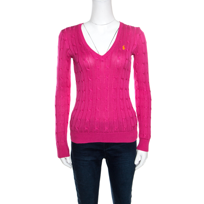 Ralph Lauren Pink Cable Knit V Neck Pullover XS
