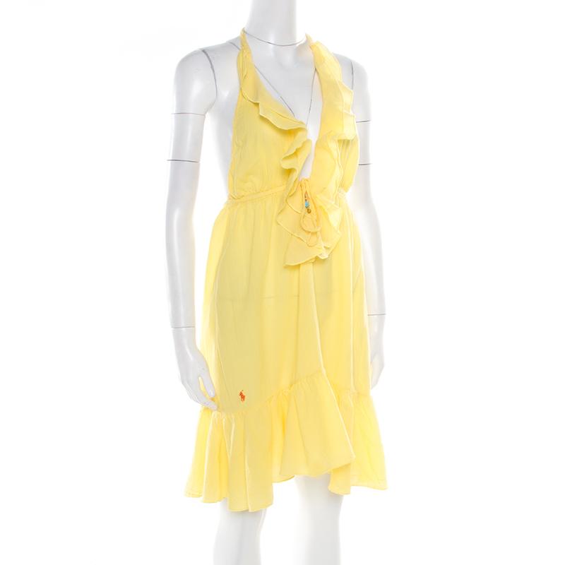 Ralph Lauren Yellow Crinkled Cotton Ruffled Halter Sundress M