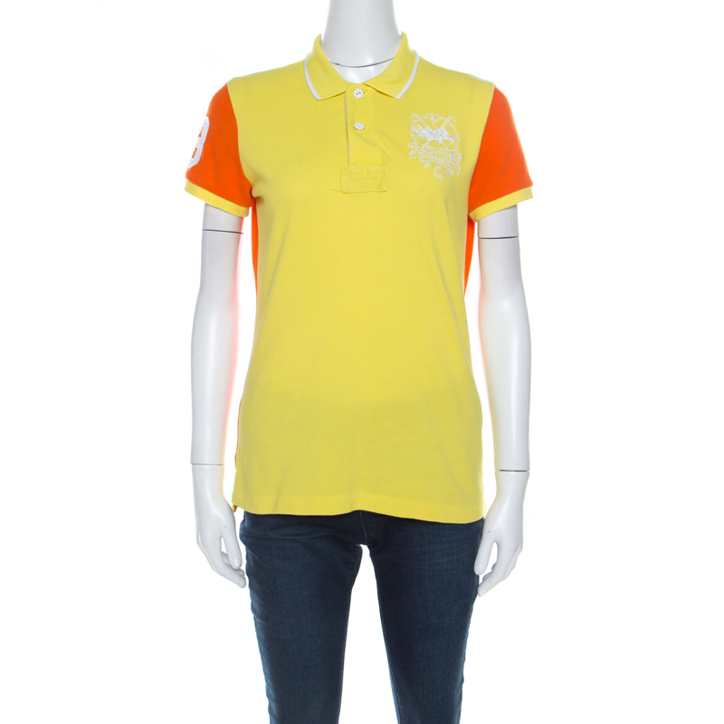 Skinny Lauren Ralph Honeycomb And Polo Shirt T M Yellow Orange Knit Fit qpVSUzMG