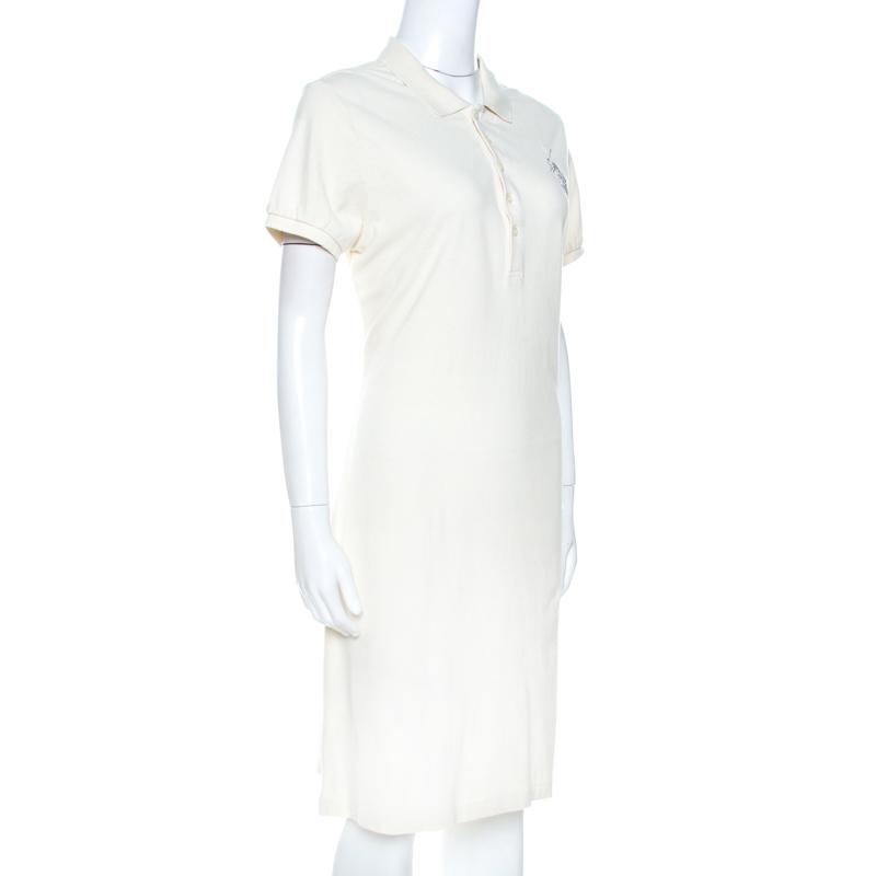 Ralph Lauren Cream Cotton Pique Polo T Shirt Dress XL