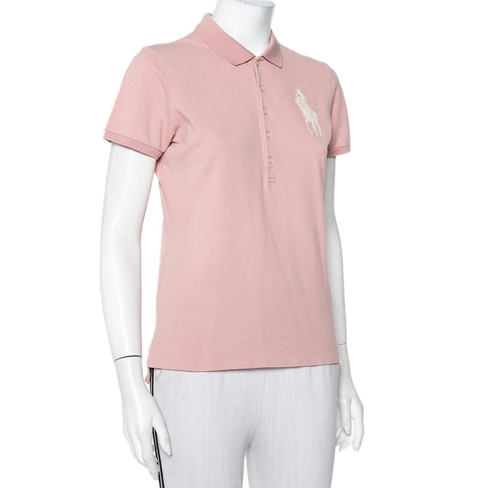 Ralph Lauren Blush Pink Cotton Beaded Logo Embellished Polo T- Shirt L
