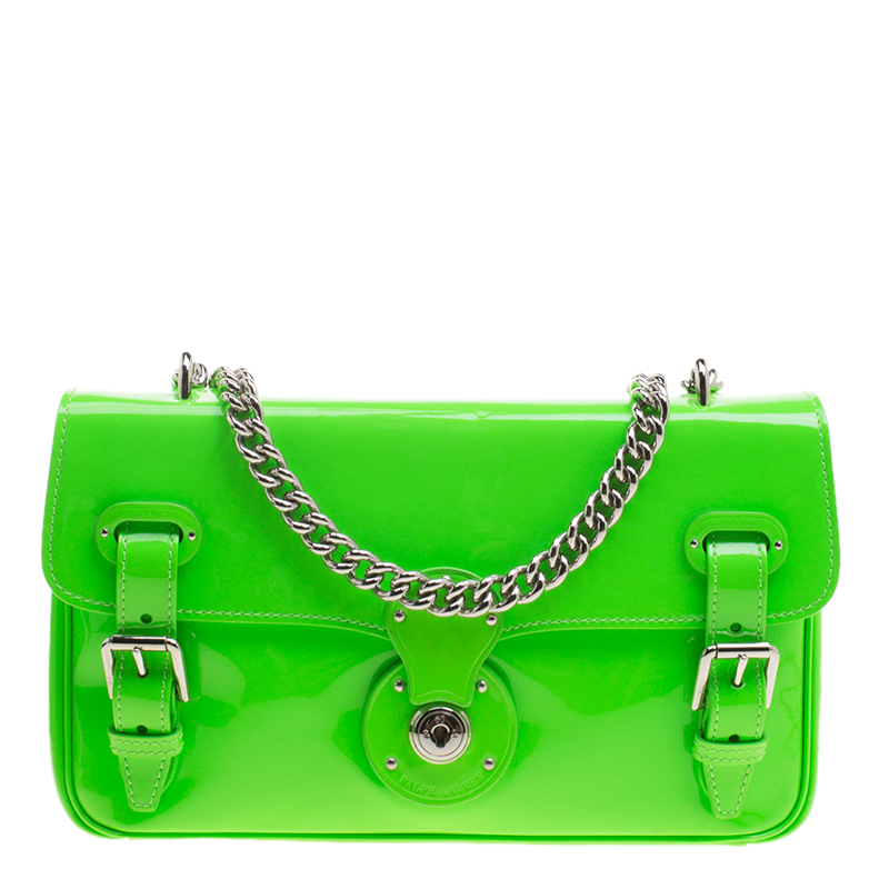750c3ad70d ... Ralph Lauren Neon Green Patent Leather Ricky Chain Shoulder Bag.  nextprev. prevnext