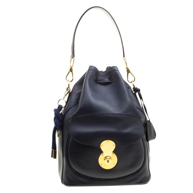 debda8ab0a21 ... Ralph Lauren Navy Blue Leather Ricky Drawstring Bucket Bag. nextprev.  prevnext