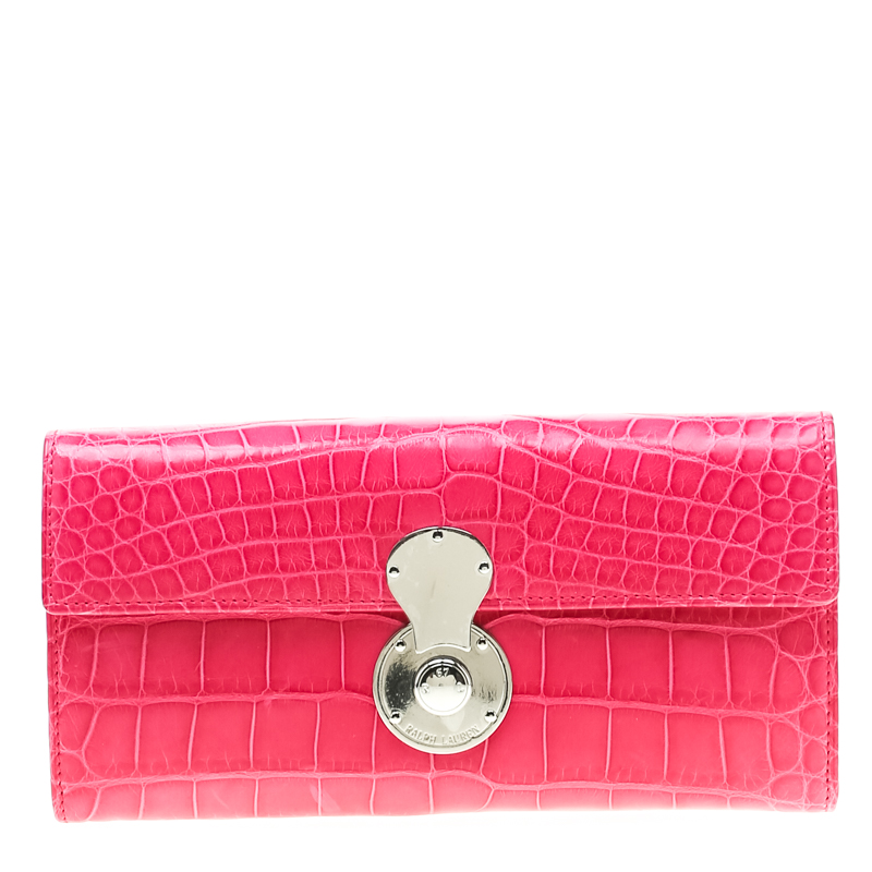 1a111759072 Buy Ralph Lauren Pink Crocodile Ricky Continental Wallet 198634 at ...