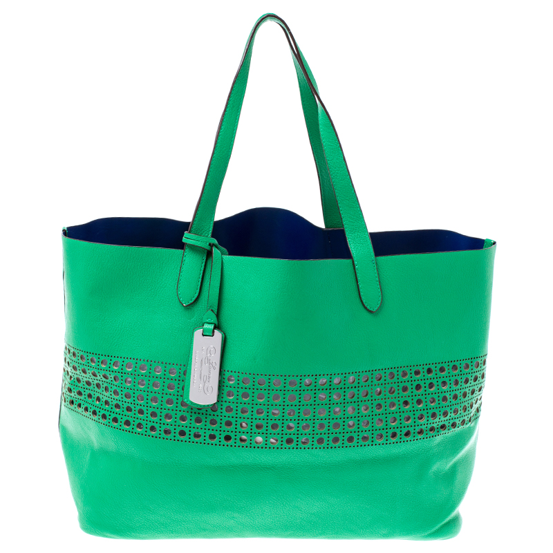 Ralph Lauren Green Perforated Leather Leighton Shopper Tote