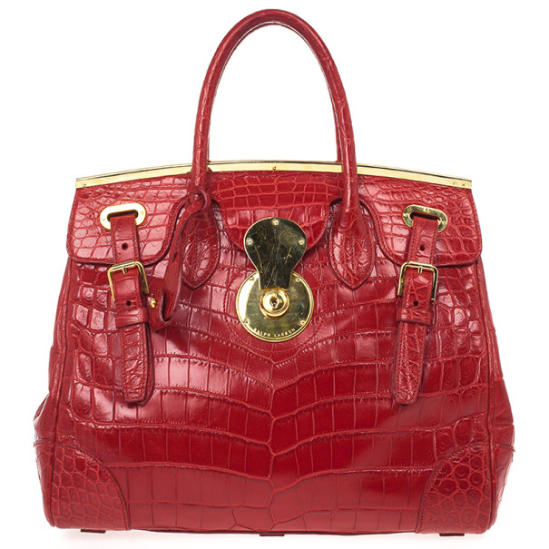 349a3c97cf Buy Ralph Lauren Red Crocodile Ricky Tote 34397 at best price
