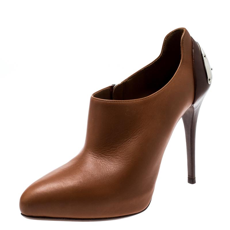 436c5d33487 Ralph Lauren Cognac Brown Leather Platform Booties Size 38