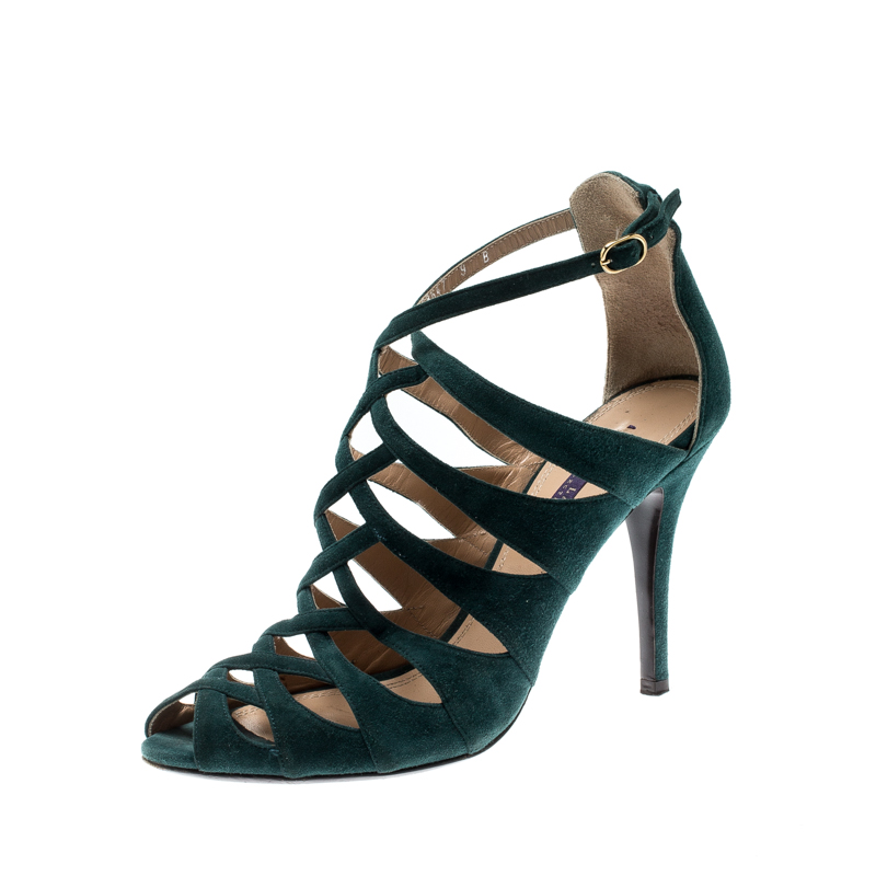 384814792c93f Ralph Lauren Green Suede Cage Open Toe Ankle Strap Sandals Size 39