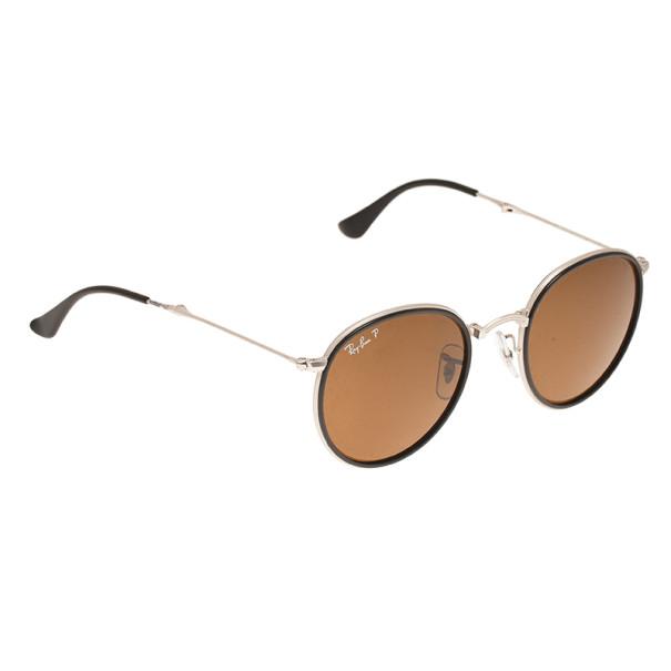 a68806967ac2 Buy Ray-Ban RB3517 Black & Silver Round Folding Polarised Sunglasses 6594  at best price | TLC