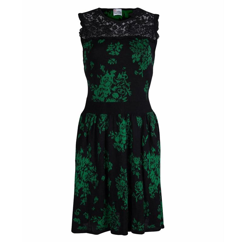 Купить со скидкой Red Valentino Black Jacquard Knit Lace Trim Sleeveless Dress M