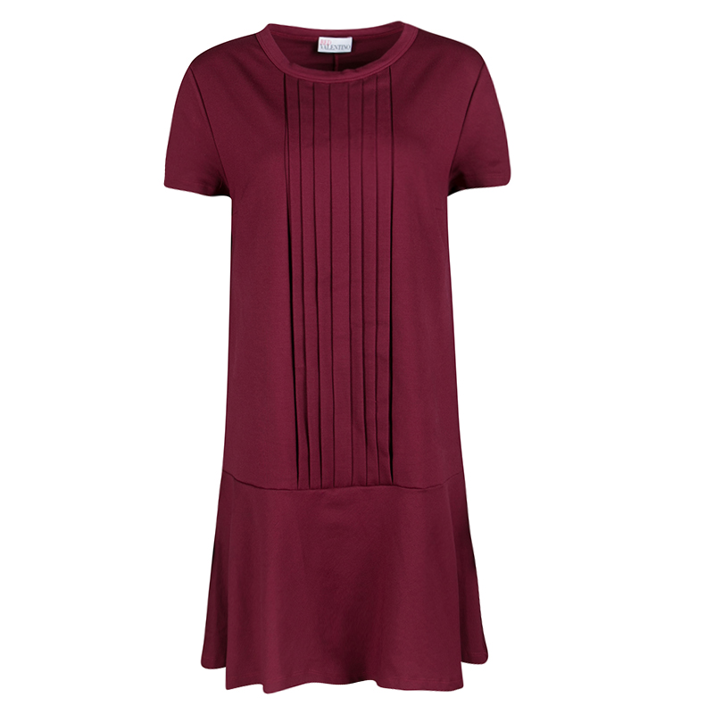 b908f66404dd Buy Red Valentino Burgundy Pleat Detail Jersey Peplum Bottom Shift ...