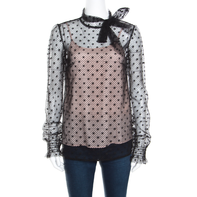 ccdeb1df1d0d09 ... Red Valentino Black Swiss Dotted Tulle Neck Tie Detail Long Sleeve  Blouse S. nextprev. prevnext