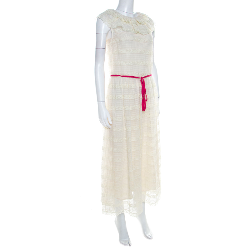 Red Valentino Off White Chantilly Lace Overlay Sleeveless Midi Dress M