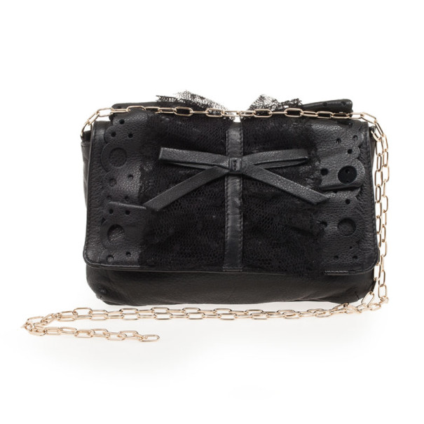 RED Valentino Black Satin And Lace Chain Strap Evening Bag