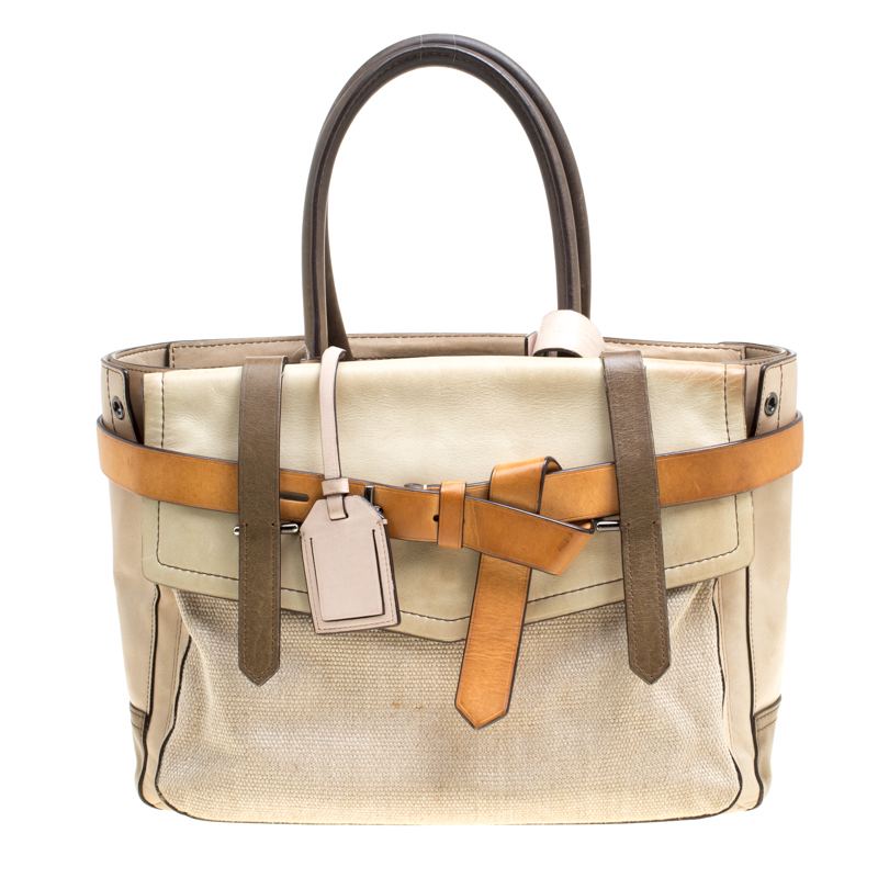 Reed Krakoff Beige Leather and Fabric Boxer Tote