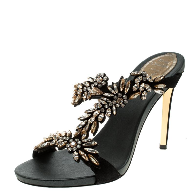 René Caovilla Black Shimmering Leather and Crystal Embellished Sandals Size 38