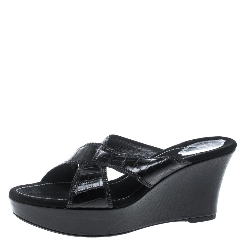 René Caovilla Black Leather Crystal Embellished Wedge Slides Size 42