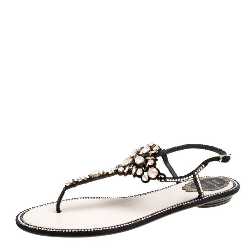 422617e7bec9 ... René Caovilla Black Crystal Embellished Suede Flat Thong Sandals Size  39. nextprev. prevnext