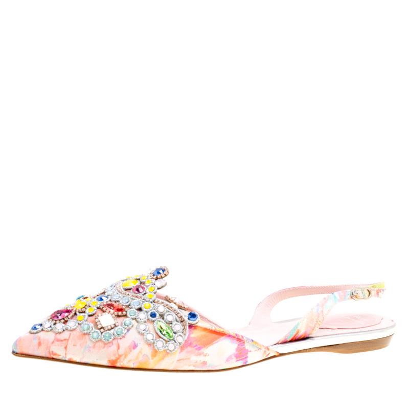 adaf82e857c2bd ... Satin Crystal Embellished Pointed Toe Flat Slingback Sandals Size 39.5.  nextprev. prevnext