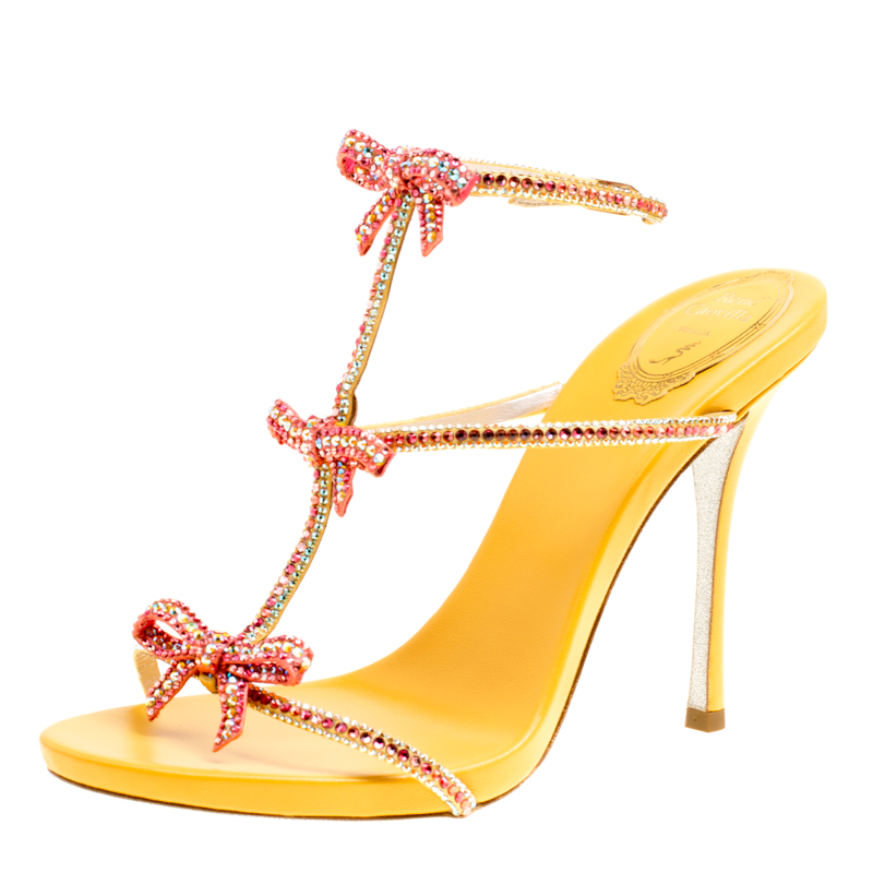 1a96fe76e ... René Caovilla Yellow Satin Crystal Embellished Bow Strappy Sandals Size  39.5. nextprev. prevnext