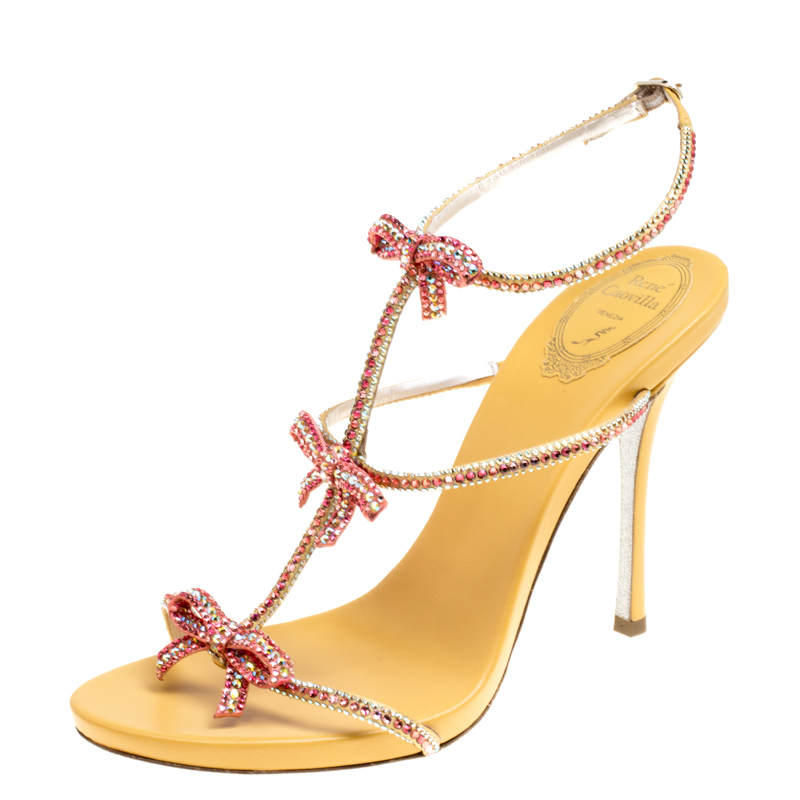 40f847c7f ... René Caovilla Yellow Satin Crystal Embellished Bow Strappy Sandals Size  41. nextprev. prevnext