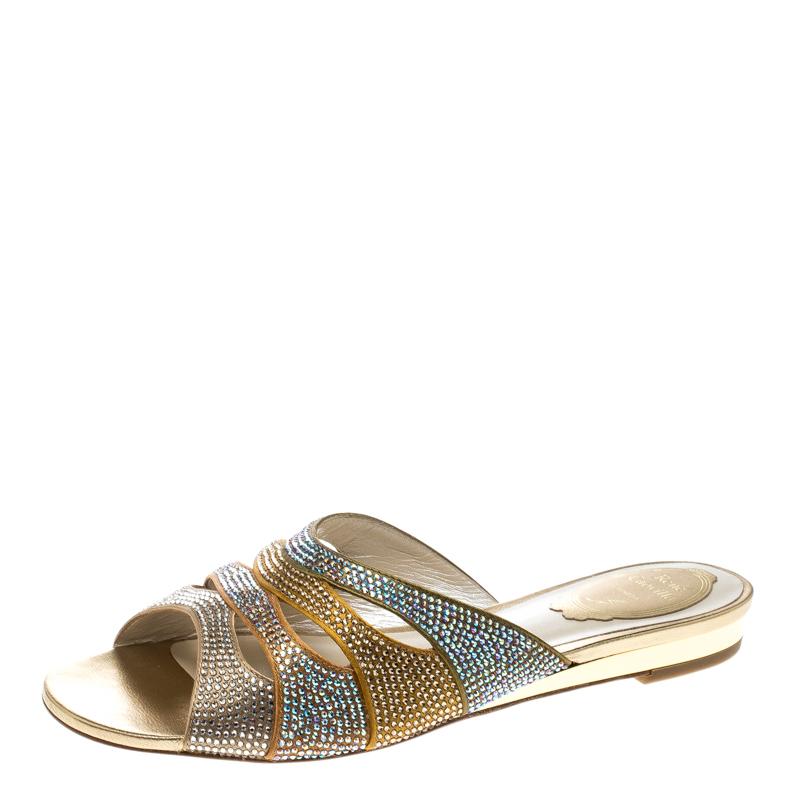 René Caovilla Multicolor Crystal Embellished Satin Flat Slides Size 37