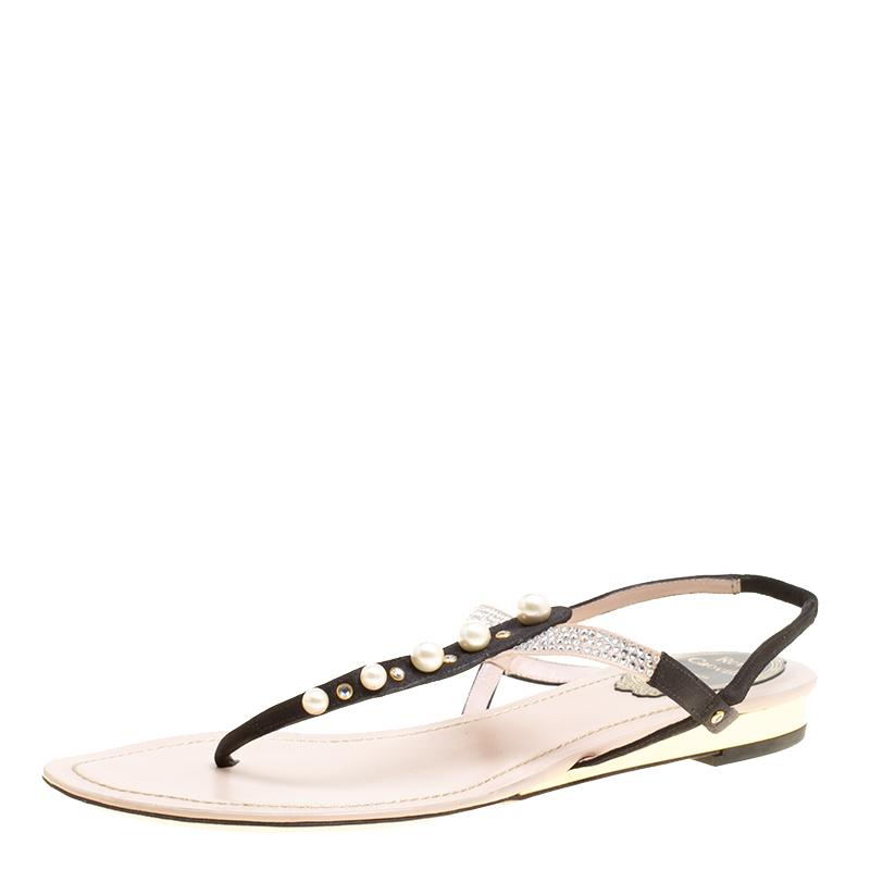 64f2cec2d92 ... René Caovilla Black Beige Satin Pearl Detail Flat Sandals Size 37.  nextprev. prevnext