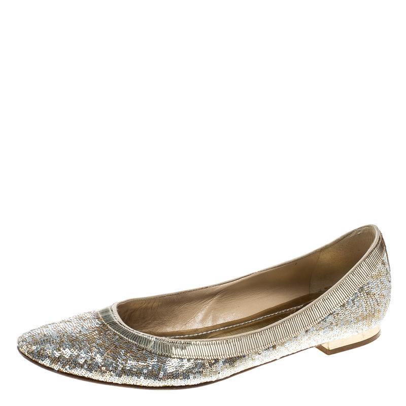 b52cc137cc51 Buy René Caovilla Gold Silver Glitter Ballet Flats Size 38.5 166554 ...