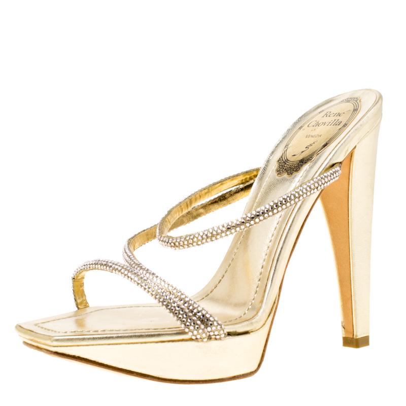a96de7add67e ... Metallic Gold Crystal Embellished Leather Cross Strap Platform Sandals  Size 36. nextprev. prevnext