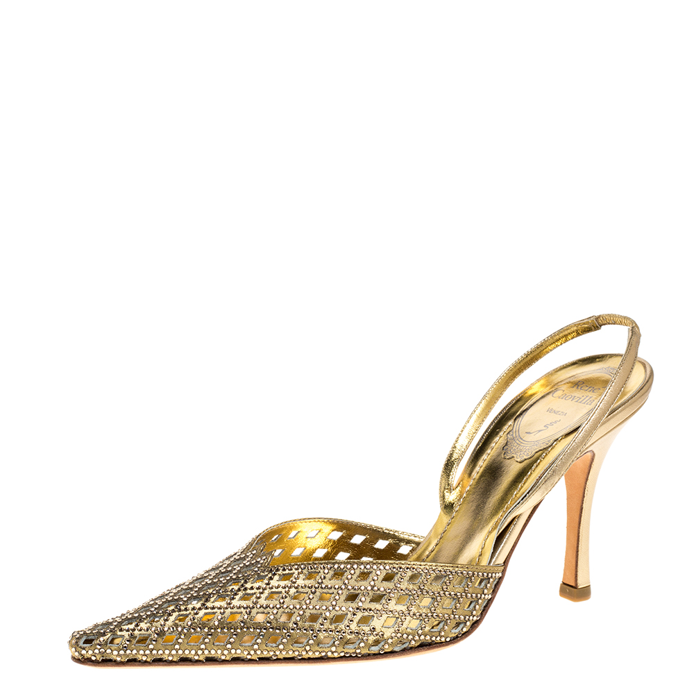Pre-owned René Caovilla Rene Caovilla Metallic Gold Leather Embellished Slingback Pumps Size 37