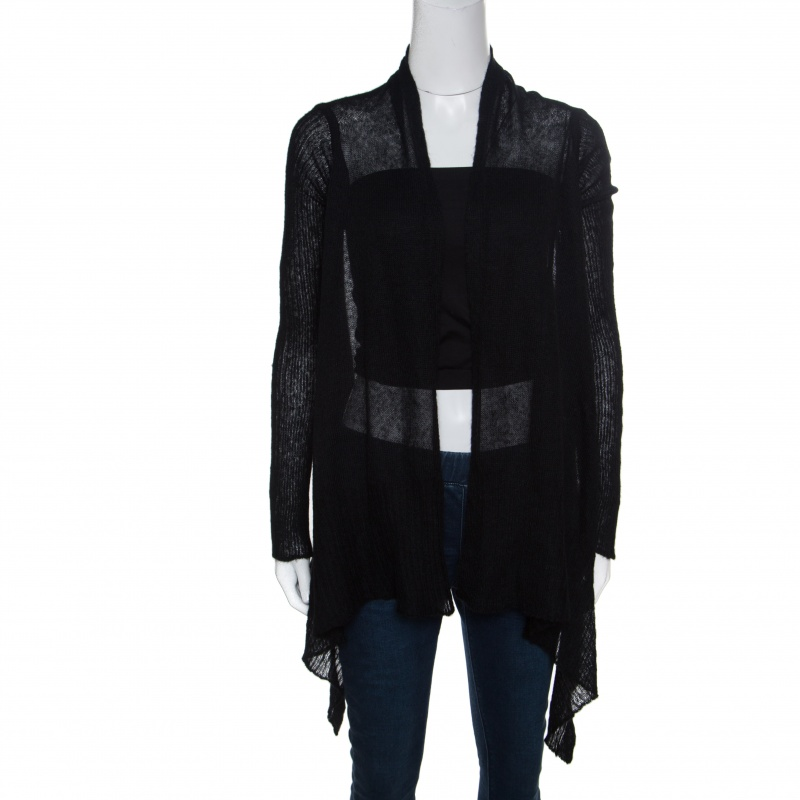 Купить со скидкой Rick Owens Black Alpaca Wool Open Front Water Fall Cardigan  S