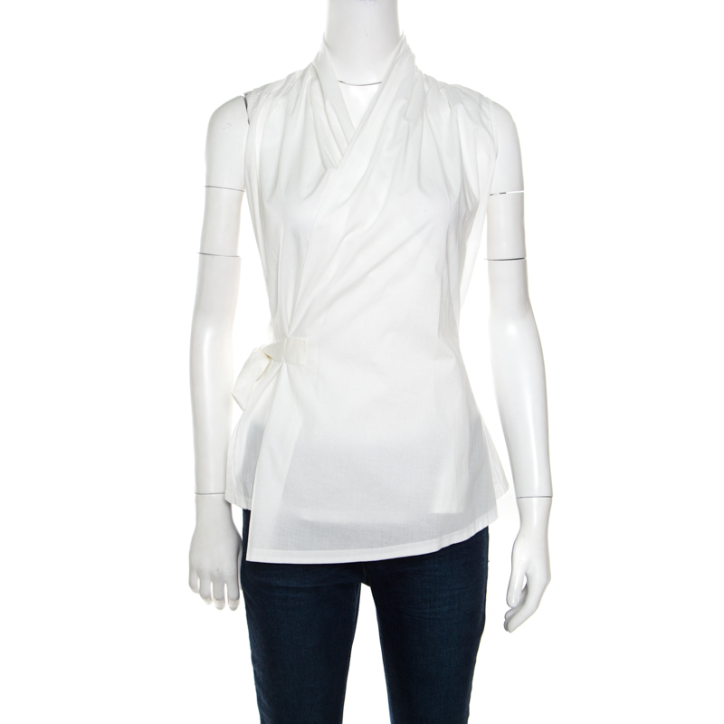 ba9d91e1a9622 Buy Rick Owens Madopolam Milk White Cotton Sleeveless Wrap Top M ...