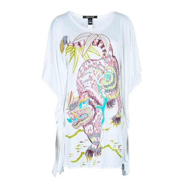Roberto Cavalli Tropical Printed Butterfly Sleeve Top S