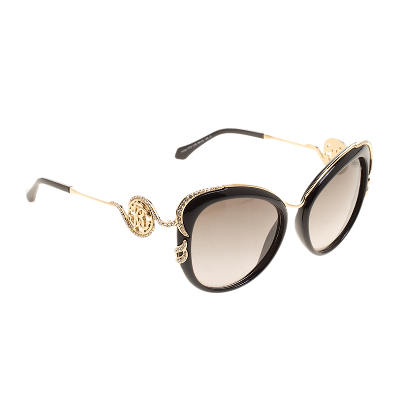 b1f00d69c47 Buy Roberto Cavalli Black Gold 1073 03B Cateye Sunglasses 127195 at ...