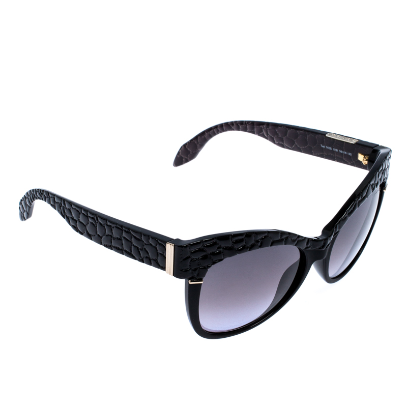 Roberto Cavalli Black Croc Embossed/ Grey Gradient 740s Teti Cat Eye Sunglasses