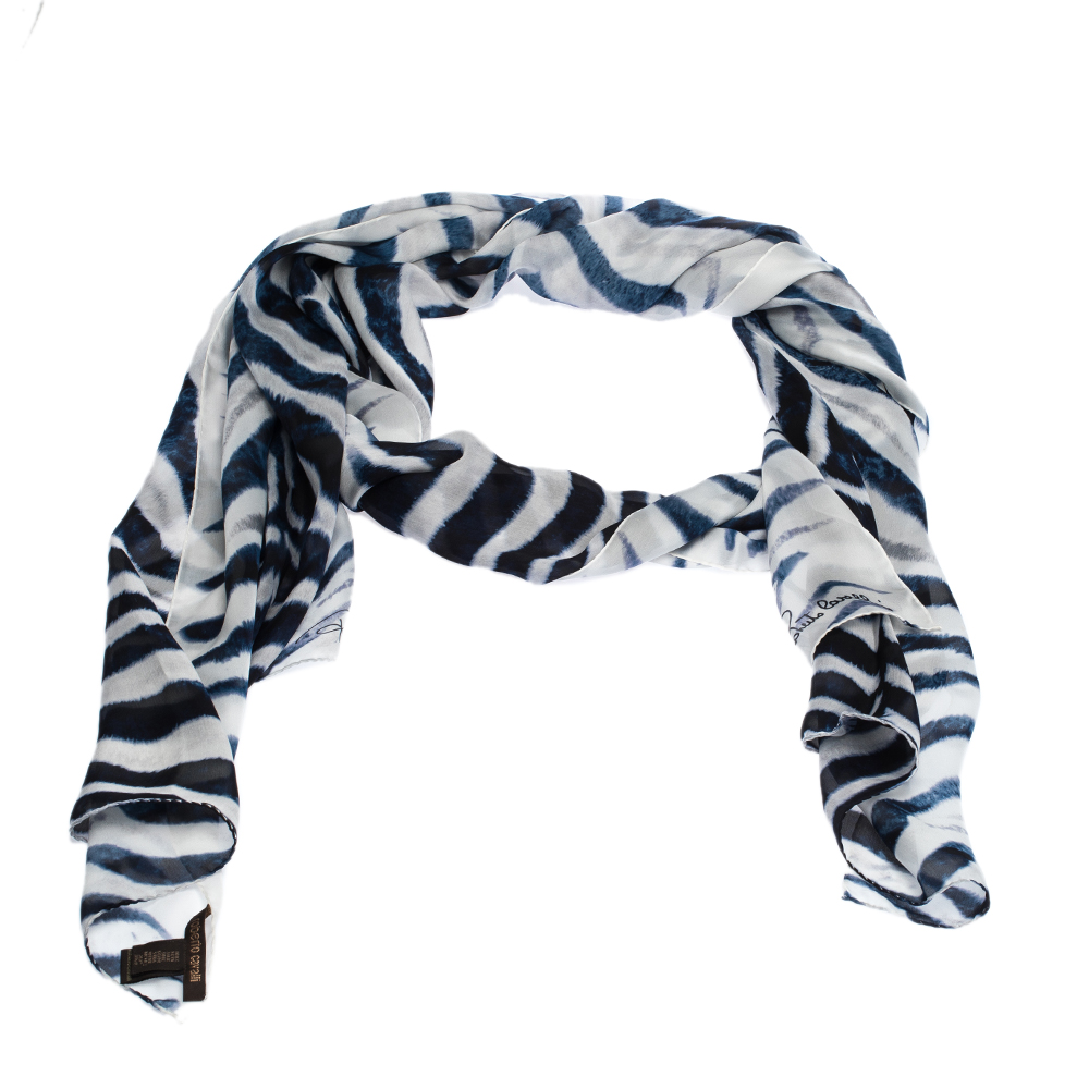Roberto Cavalli Blue & White Tiger Printed Silk Scarf