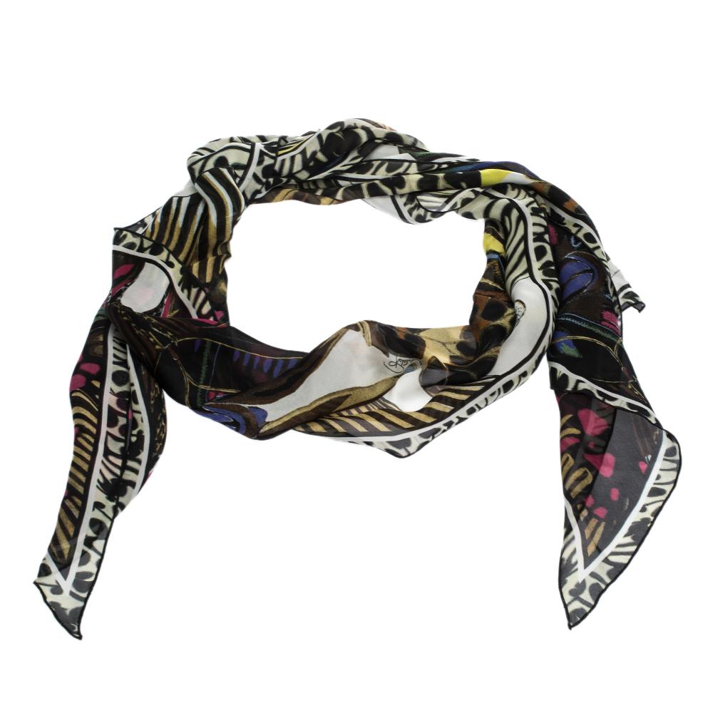 Roberto Cavalli Multicolor Butterfly Print Silk Twilly Bandeau Scarf