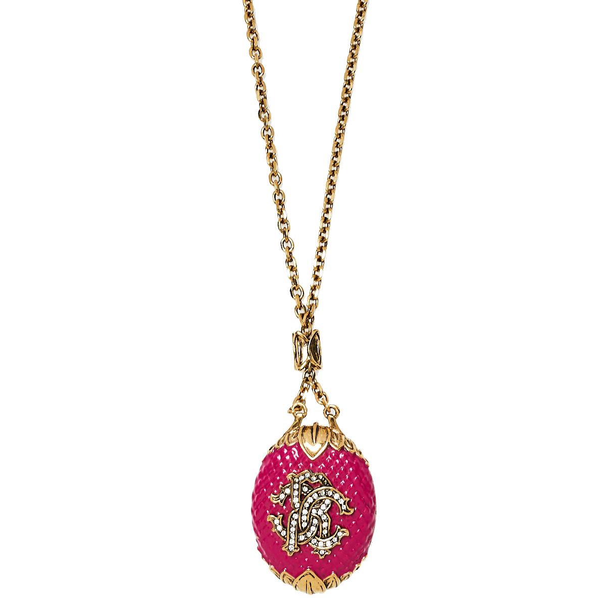 Roberto Cavalli Pink Enamel Crystal Logo Pendant Necklace