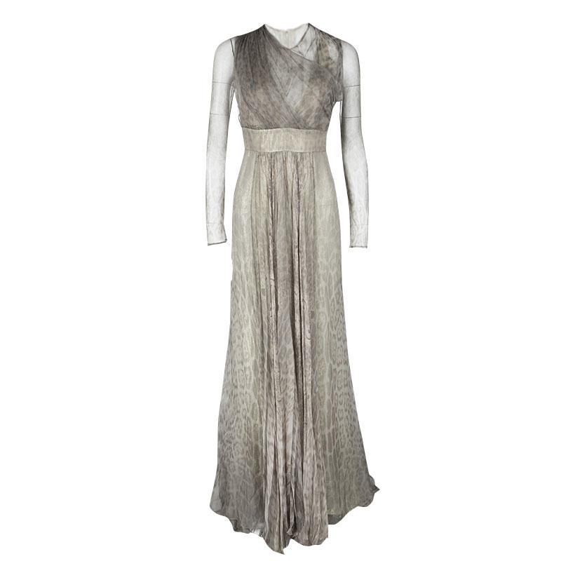 ceb1226405e26 ... Roberto Cavalli Grey Animal Printed Silk and Tulle Draped Long Sleeve  Gown M. nextprev. prevnext
