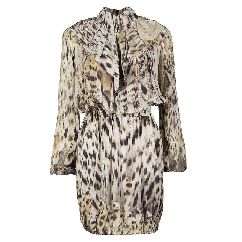 a0fcf6c12f0b5 ... Roberto Cavalli Multicolor Animal Print Pleat Detail Long Sleeve  Gathered Dress S. nextprev. prevnext