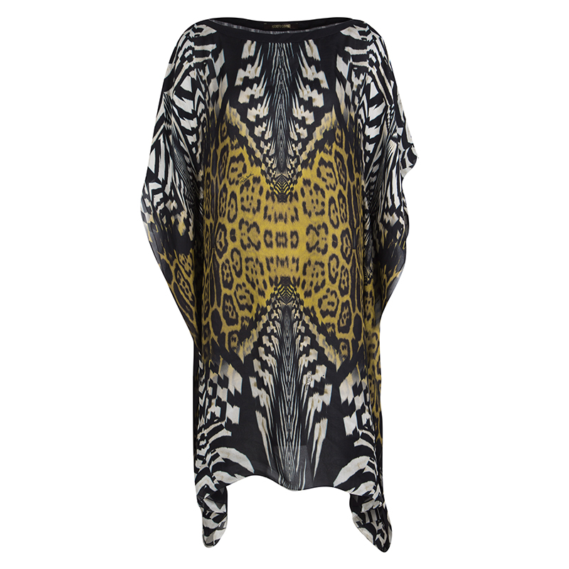 e550568c11b99 ... Roberto Cavalli Multicolor Animal Printed Silk Kaftan Tunic M.  nextprev. prevnext