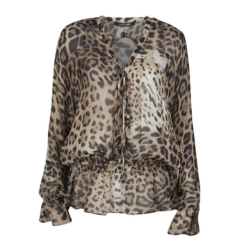 49583b56230a1 ... Roberto Cavalli Animal Printed Silk Long Sleeve Tie Detail Sheer Top M.  nextprev. prevnext