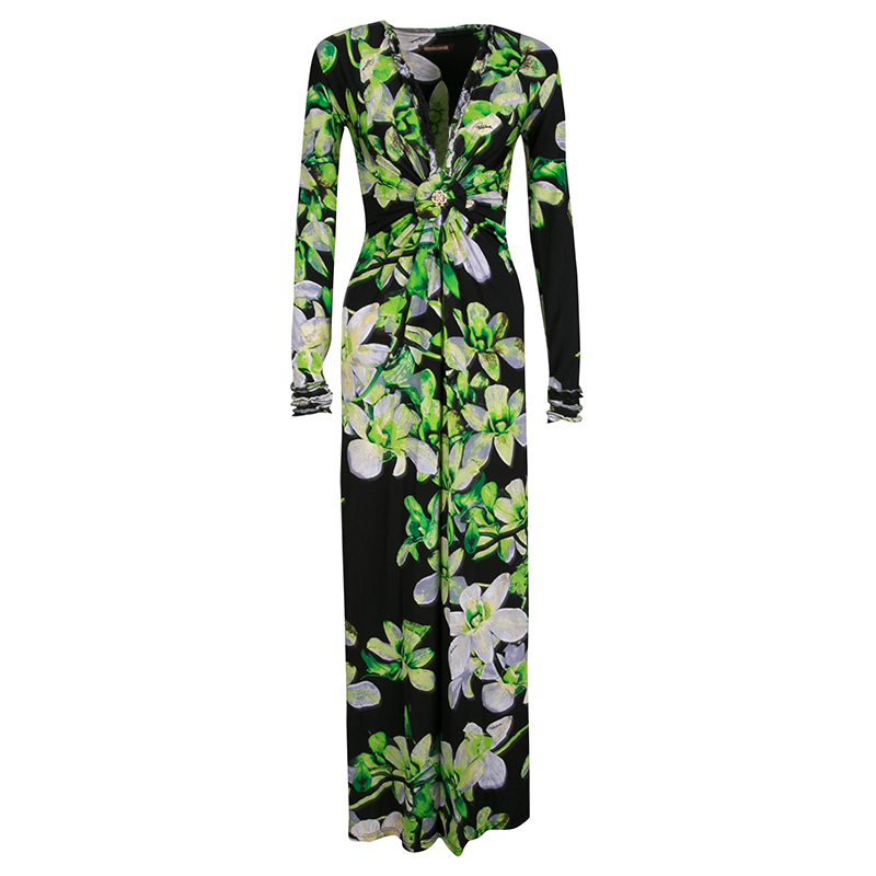 ... Roberto Cavalli Black Floral Printed Knit Long Sleeve Gathered Maxi  Dress M. nextprev. prevnext 4e913dd88