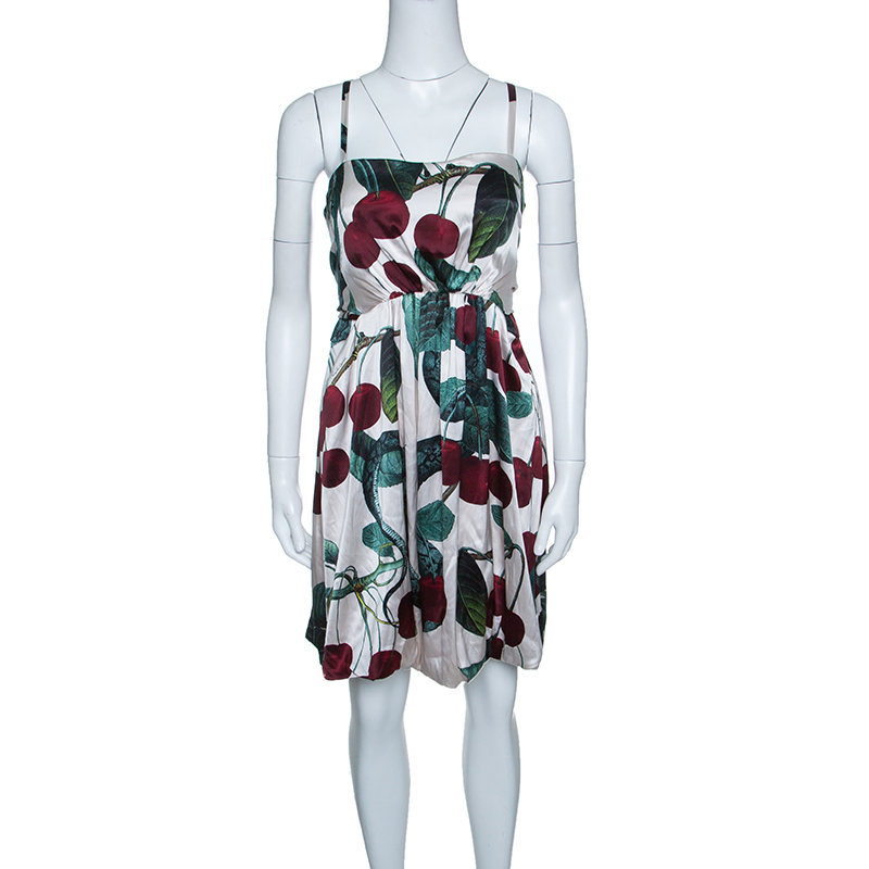 c30276f7fef Buy Roberto Cavalli Off White Python and Cherry Printed Silk Back ...