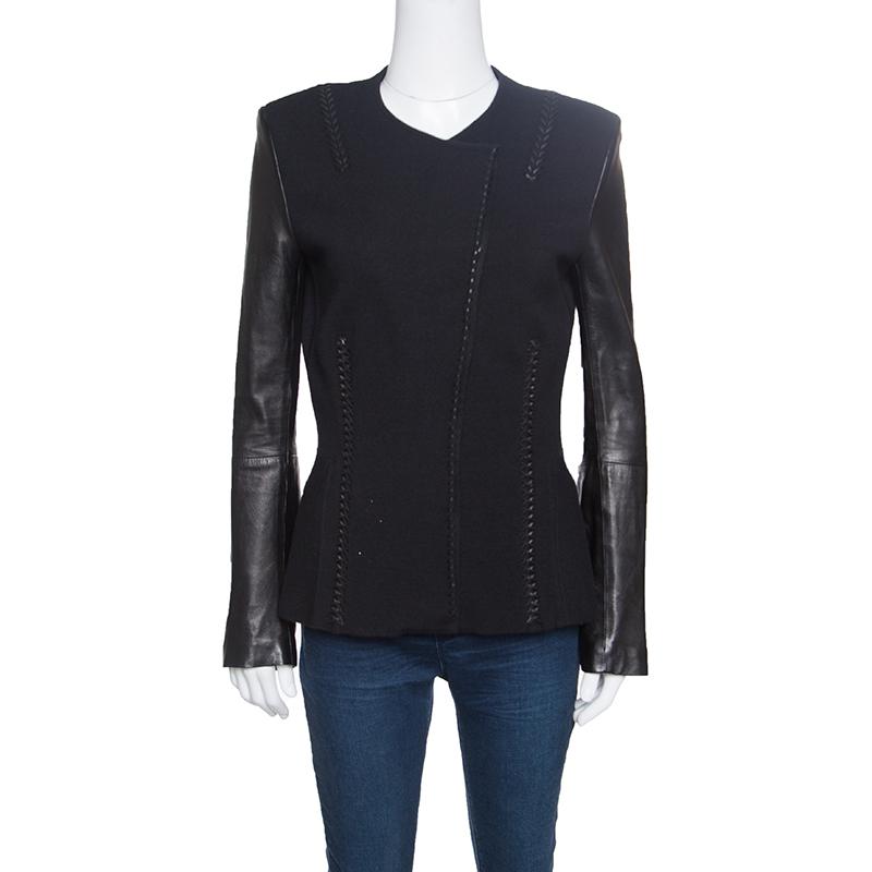 Купить со скидкой Roberto Cavalli Black Leather Sleeve Detail Wool and Cashmere Jacket S