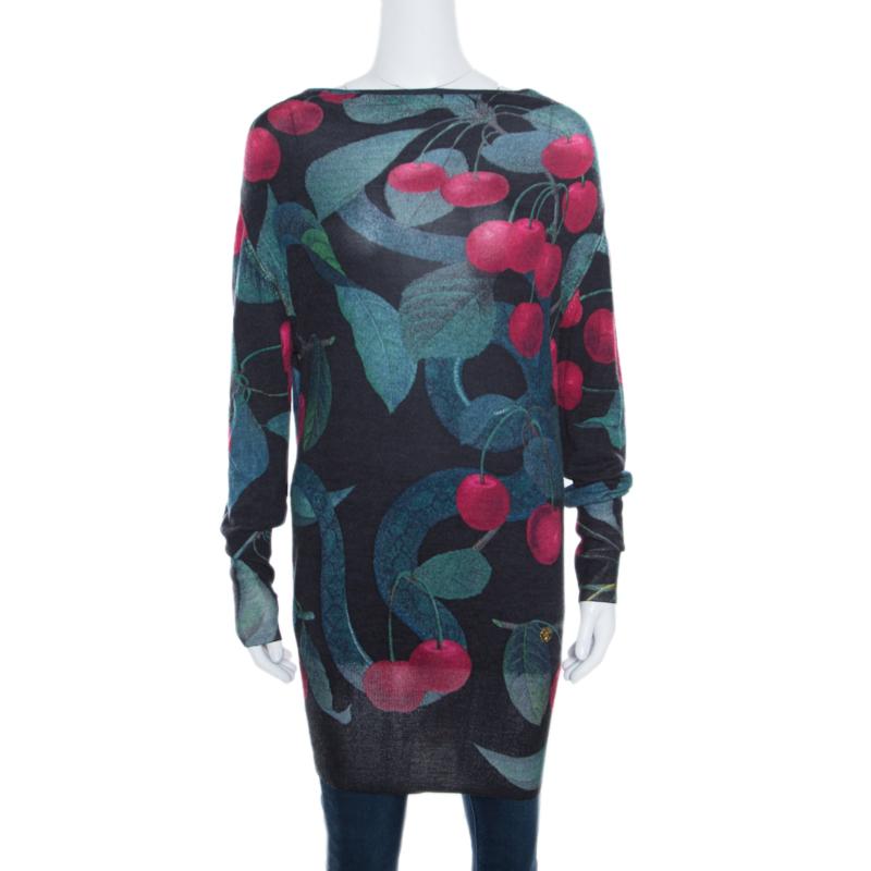 Купить со скидкой Roberto Cavalli Black Cherry Printed Silk and Cashmere Oversized Sweater S