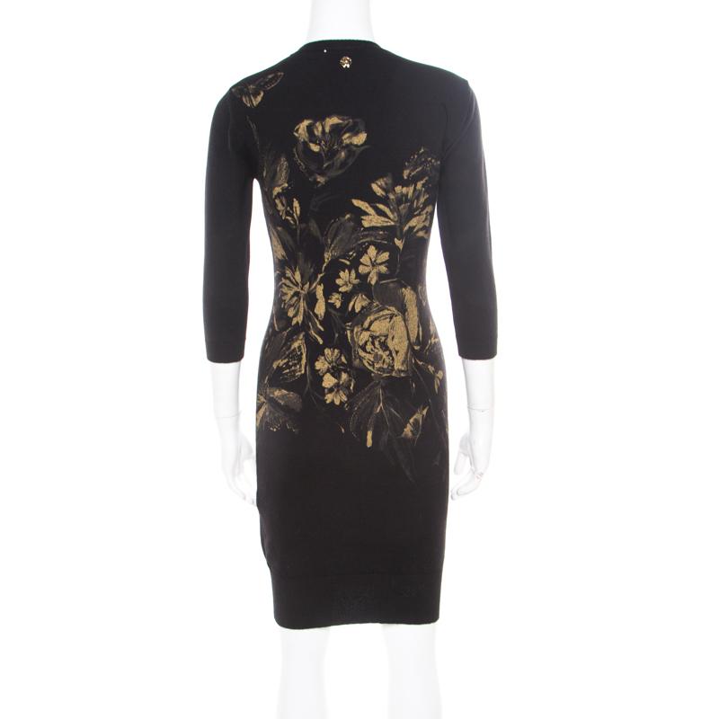 the latest ebce7 7394c Roberto Cavalli Black Wool Metallic Gold Floral Printed Sweater Dress S