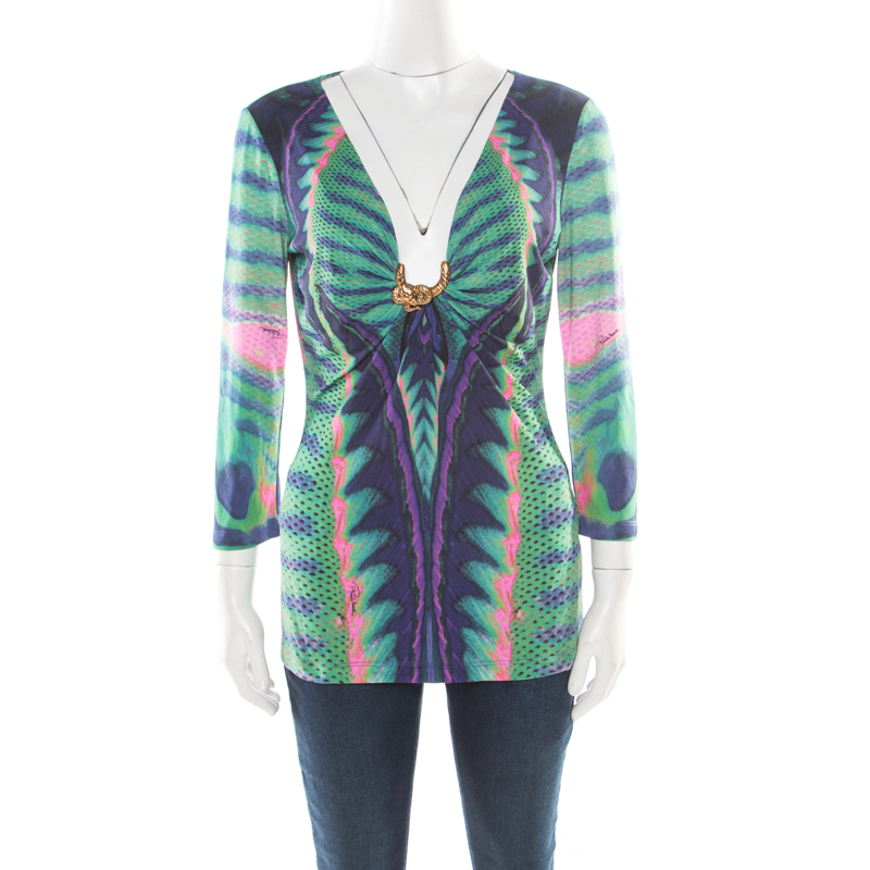 Roberto Cavalli Multicolor Printed Knit Snake Brooch Detail Ruched Top L